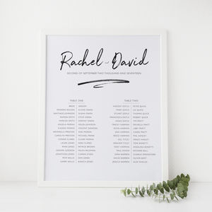 Modern Script Wedding Table Plan