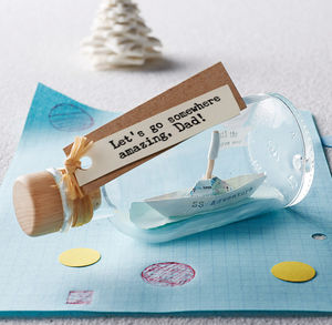 Personalised Handmade Paper Ship In A Bottle - home accessories