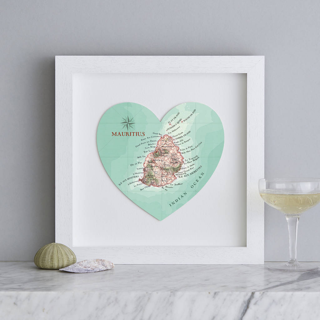 Personalised Mauritius Map Heart Print Wedding Gift