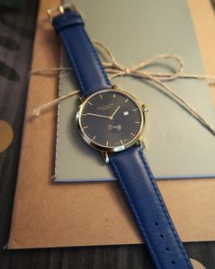 Blue, Black And Gold Watch - watches