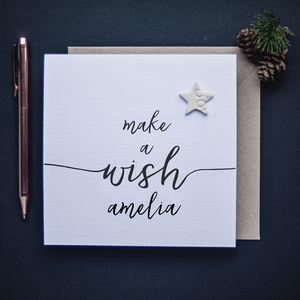 Personalised Make A Wish Christmas Card - winter sale