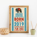 Personalised New Baby Gift Circus Nursery Print