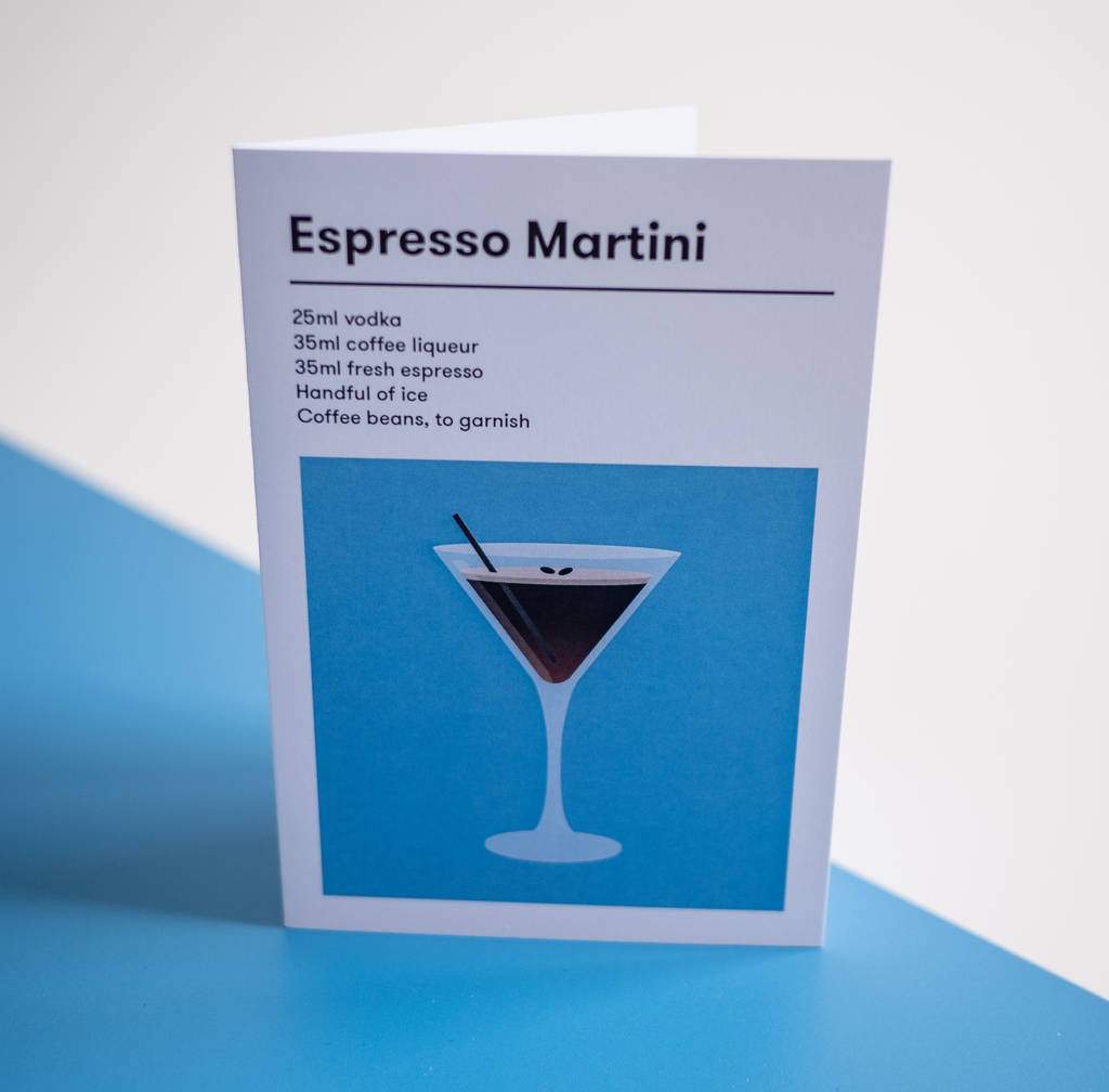 Espresso Martini Cocktail Card By Illustrait Me Notonthehighstreet Com