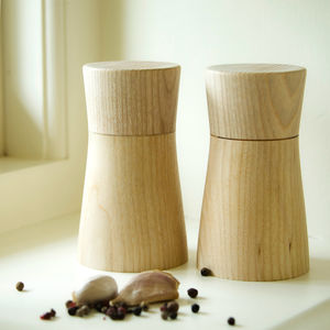 Solid English Ash Salt And Pepper Mill Set - salt & pepper pots