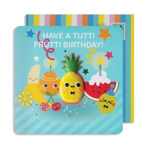 Tutti Frutti Birthday Pineapple Jelly Magnet Card