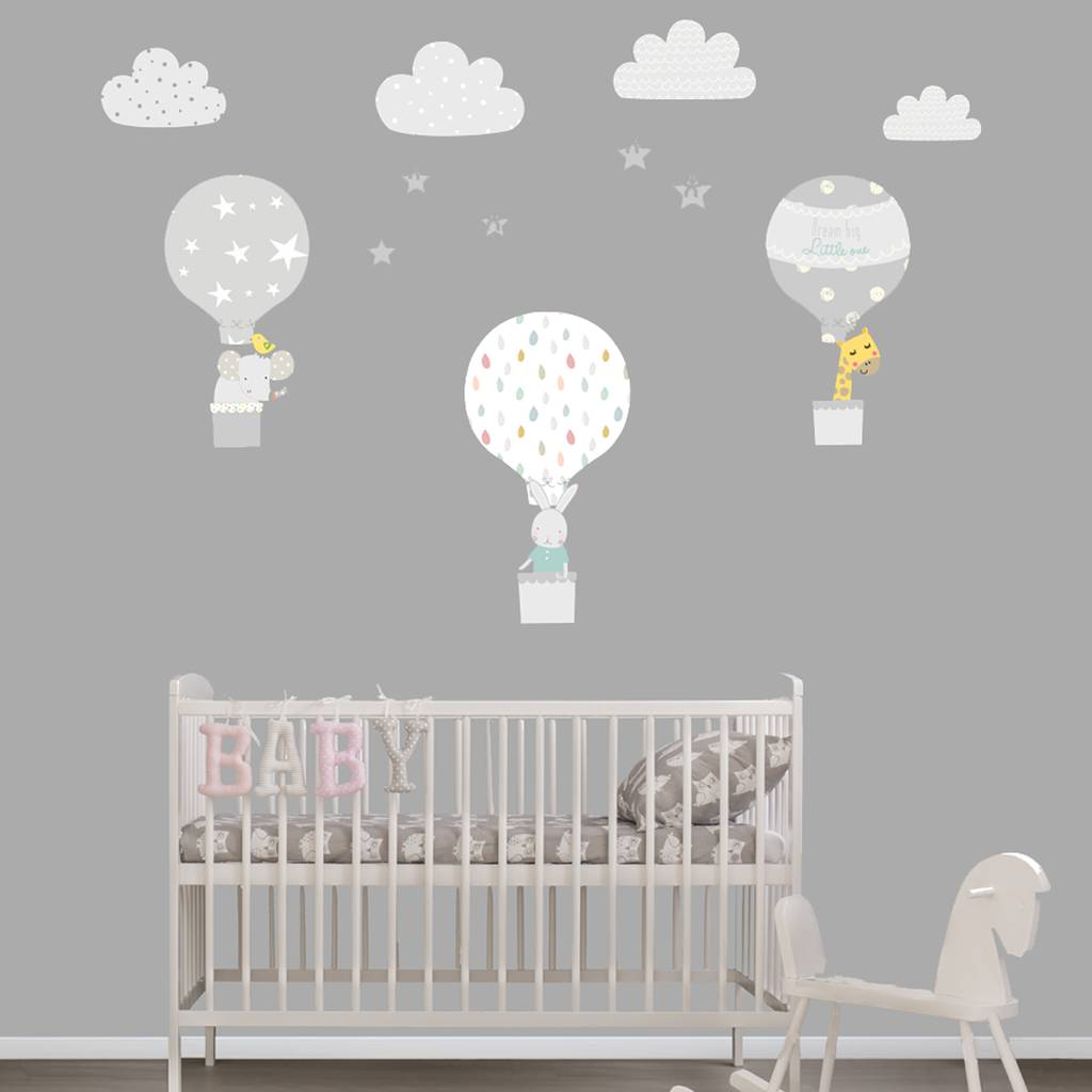 Merveilleux Grey Hot Air Balloon Fabric Wall Stickers