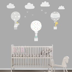 Grey Hot Air Balloon Fabric Wall Stickers
