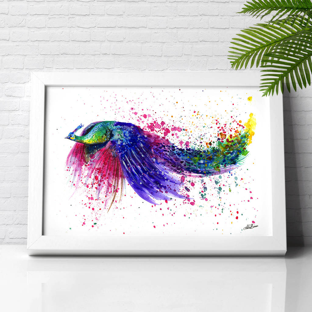 Peacock Flying Splash Illustration Print