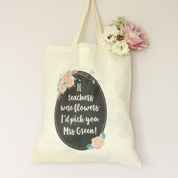 Vintage Rose Personalised Teacher's Tote Bag