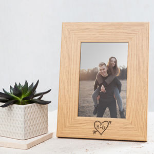 Personalised Couples Carved Heart Photo Frame