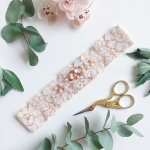 Rose Gold Orchid Bridal Garter In Blush Pink
