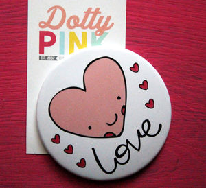 Heart Pocket Mirror 78mm 'Love' - compact mirrors