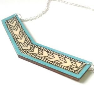Contemporary Illustrated Geometric Chevron Necklace