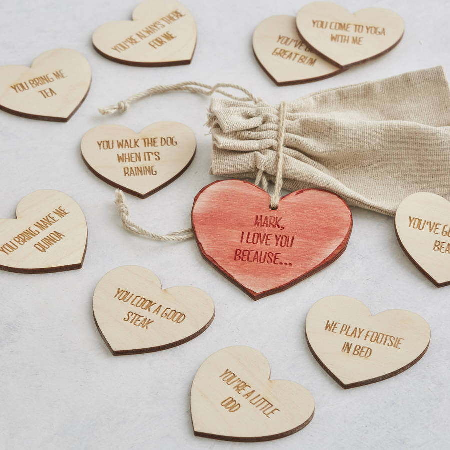 I Love You Because: I Love You Because Personalised Message Heart Tokens By