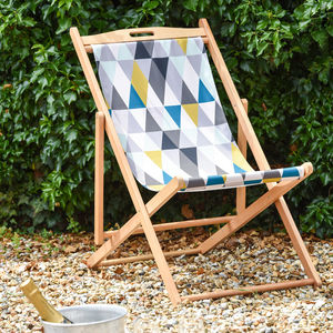 Geometric Pastel Pattern Garden Deckchair - garden furniture