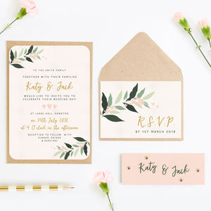 Botanical Blush Wedding Invitation Bundle