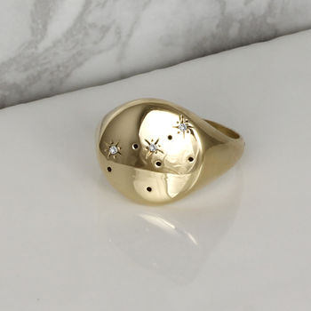 Zodiac Constellation Diamond Signet Ring Solid Gold
