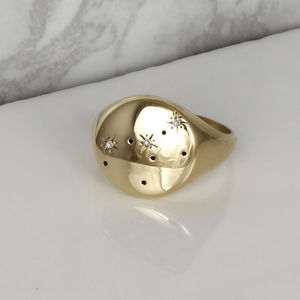Zodiac Constellation Diamond Signet Ring Solid Gold - engagement rings