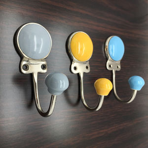 Coloured Ceramic Plain Coat Rack Hook
