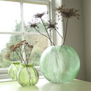 Green Embossed Leaves Glass Vase