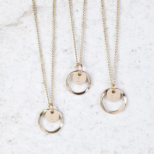 Gold Halo Initial Necklace