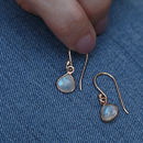 Rose Gold Mini Heart Gemstone Earrings