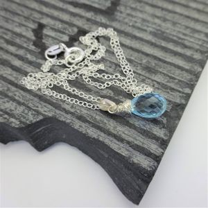 Petite Blue Topaz Silver Necklace