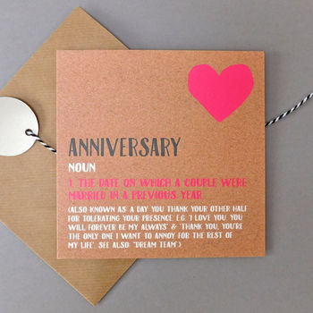 Funny Definition Anniversary Card