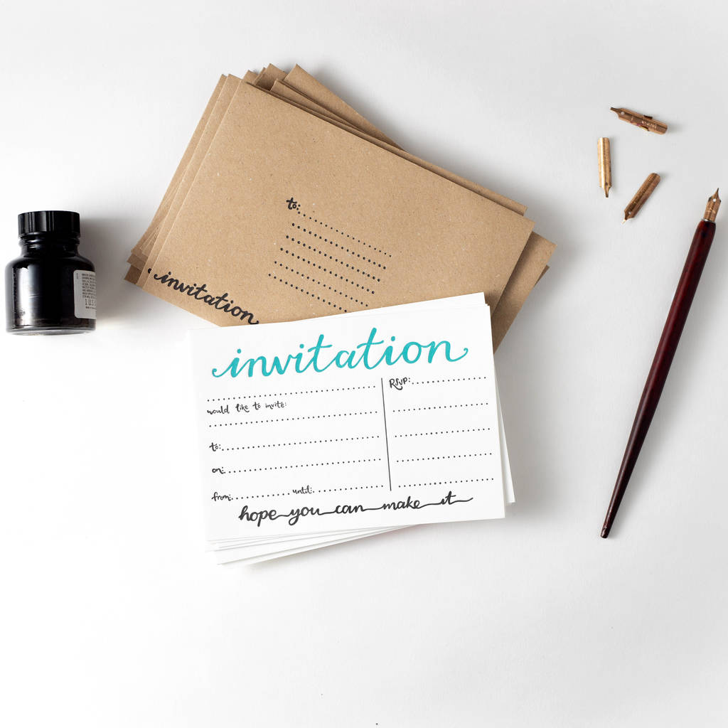 'Invitation' Set Of 10 Letterpress Invites