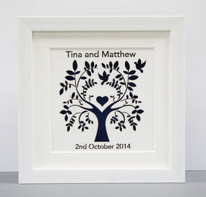 Personalised Paper Cut Tree With Doves