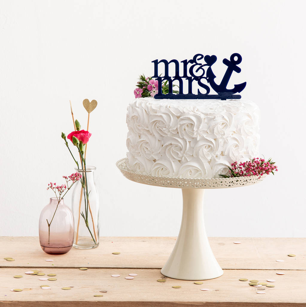 Phenomenal Mr And Mrs Sailor Anchor Cake Topper By Funky Laser Funny Birthday Cards Online Alyptdamsfinfo