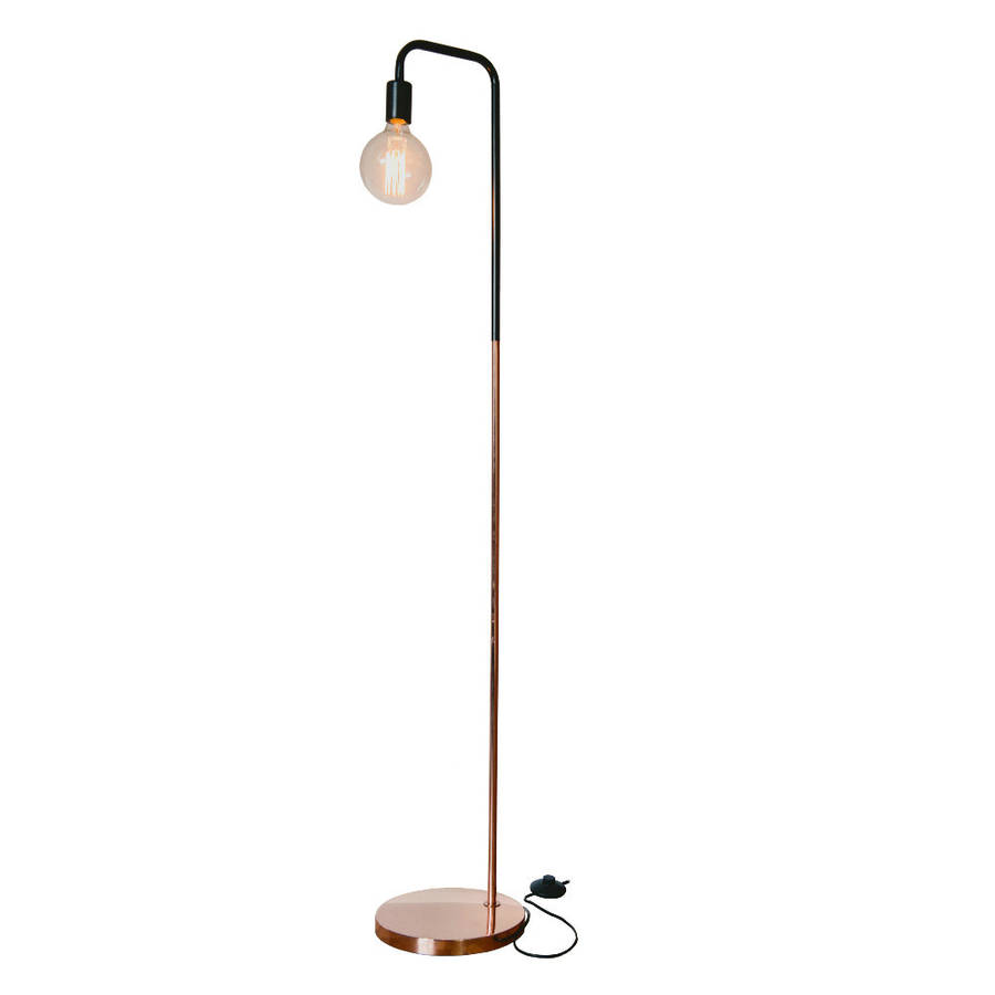 copper thin floor lamp with edison bulb by liga | notonthehighstreet.com