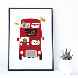 Zoo Bus Personalised Children's Print - new in