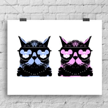 Pop Art Cat Duo print by Lou Boyce