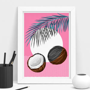 Tropical 90's Coconut Print - canvas prints & art