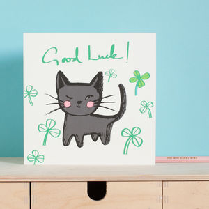 Good Luck Black Cat Clover Card - good luck cards