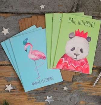Animal Christmas Cards Pack Of Six