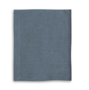 Parisian Blue Linen Tablecloth With Mitered Hem