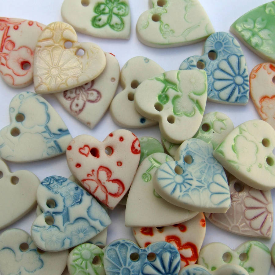 Five Porcelain Heart Buttons