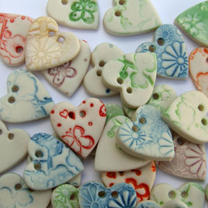 Five Porcelain Heart Buttons - wedding favours