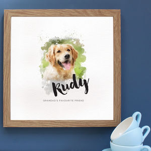 Personalised Watercolour Pet Portrait Framed Print
