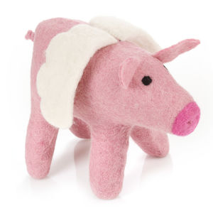 Handmade Felt Big Flying Pig