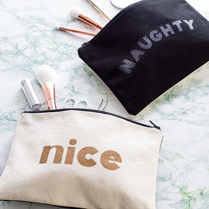 'Naughty/Nice' Double Sided Pouch - make-up & wash bags