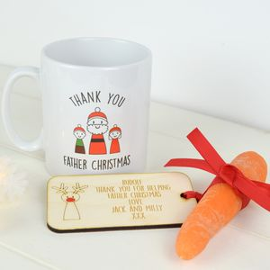 Personalised Thank You Santa And Rudolf Mug Set