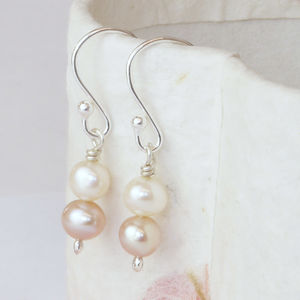 Handmade Ivory And Soft Rose Pink Pearl Drop Earrings