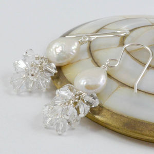 Swarovski Crystal And Freshwater Pearl Earrings