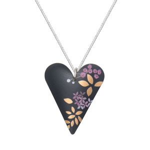 Heart Pendant Matt Blue/Black With Pink And Gold Print - necklaces & pendants