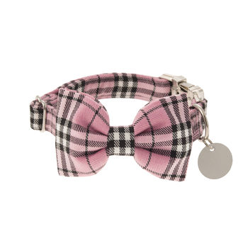 Candyfloss Pink Plaid Bow Tie Dog Collar
