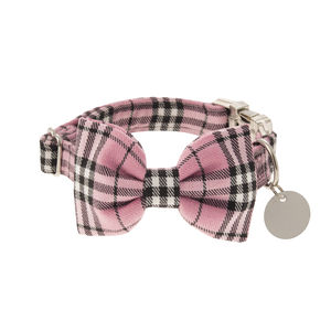 Candyfloss Pink Plaid Bow Tie Dog Collar - dog collars