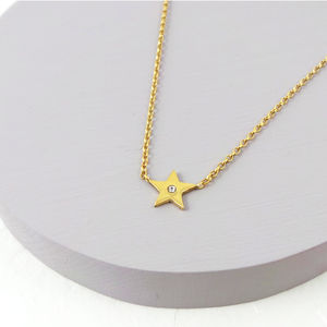 Gold Star Necklace With White Sapphire
